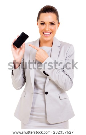 attractive businesswoman pointing mobile phone isolated on white - stock photo