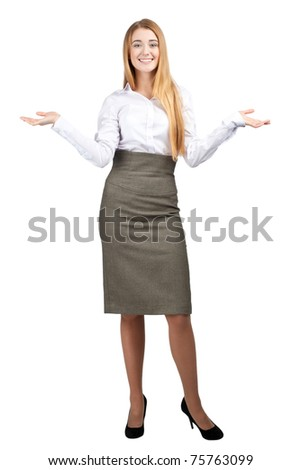 Attractive businesswoman showing something on the palms of her hands, isolated on white - stock photo