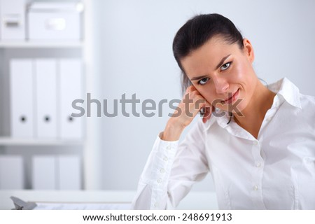 Attractive businesswoman sitting with laptop  in the office - stock photo