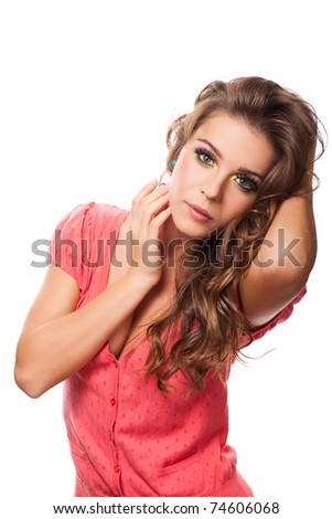 attractive caucasian female posing in studio - stock photo