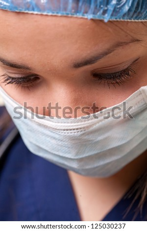 Attractive caucasian healthcare worker woman - stock photo