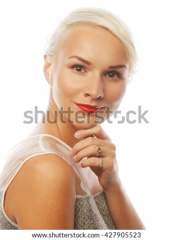 attractive caucasian smiling woman blond  - stock photo