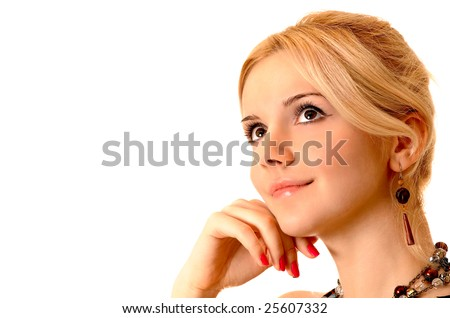 Attractive charming blonde on white background. - stock photo