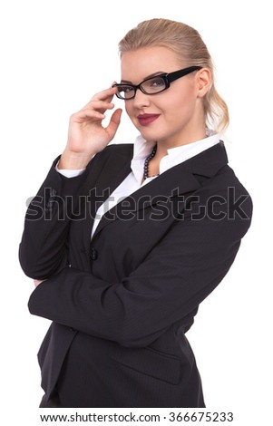 Attractive Confident businesswoman with her arms crossed - Stock Image - stock photo