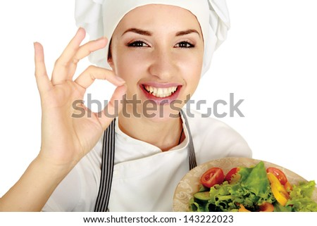 Attractive cook woman showing ok over white background - stock photo