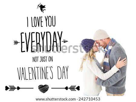 Attractive couple in winter fashion hugging against i love you everyday - stock photo