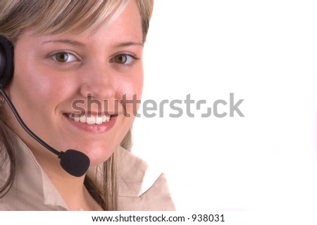 Attractive Customer Service Agent With Telephone Headset (Isolated) - stock photo