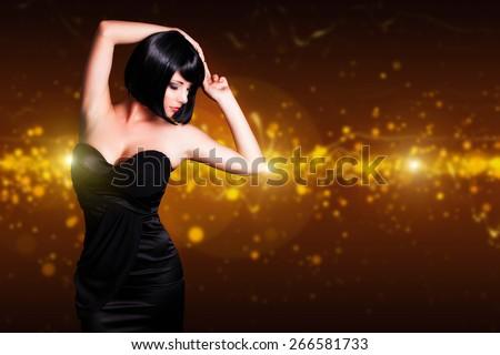attractive dancing woman - stock photo