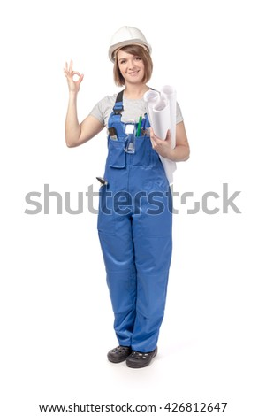 attractive engineer or architect female with blueprints showing thumb up isolated on white background. proposing service. advertisement gesture - stock photo