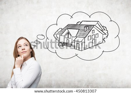 Attractive european businesswoman thinking about real estate on concrete background. Mortgage concept - stock photo