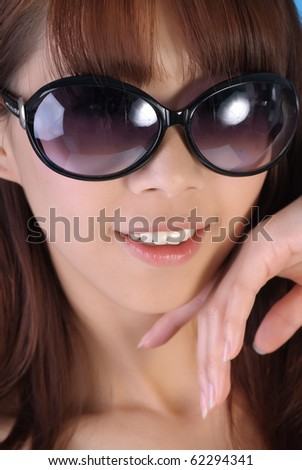 Attractive fashion woman, closeup portrait of smiling face. - stock photo