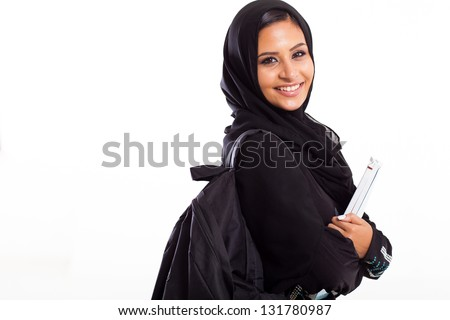 attractive female Arabic college student isolated on white - stock photo