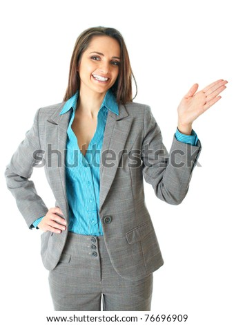 attractive female conference speaker during presentation, hand gesture, shows something, isolated on white - stock photo