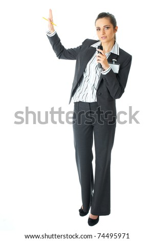 attractive female conference speaker during presentation, holds microphone, isolated on white - stock photo