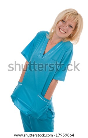 attractive female doctor isolated on the white - stock photo