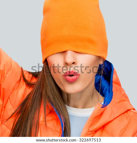 attractive fitness woman, caucasian model, close up - stock photo