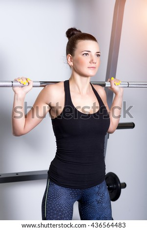 Attractive fitness young woman, trained female body - stock photo