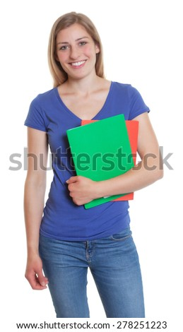 Attractive german student in a blue shirt  - stock photo