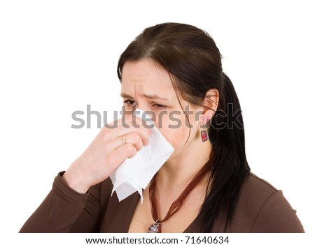 Attractive girl got a cold. All on white background - stock photo