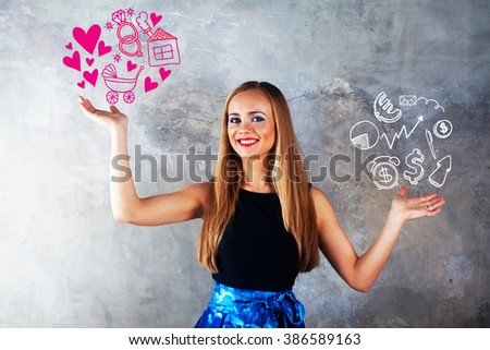 attractive girl  makes a choice between love, family, wedding rings hearts stroller children motherhood femininity or vs money, dollar, euro, skeytch, drawing, diagram, business, career, job selection - stock photo