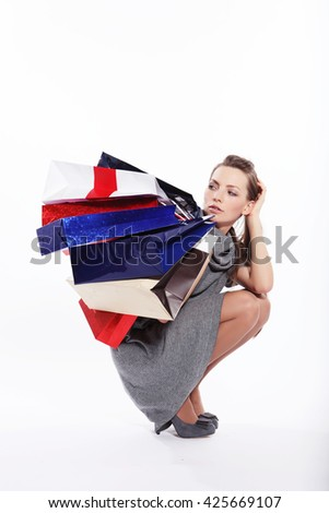Attractive girl shopping - stock photo