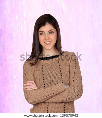 Attractive girl smiling isolated on a irregular pink background - stock photo