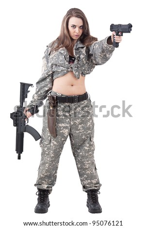 Attractive girl soldier with guns, isolated on white background - stock photo