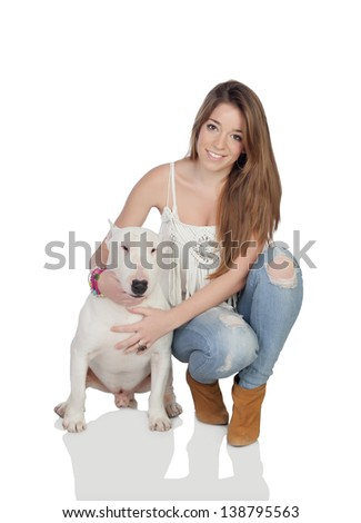 Attractive girl with a bull-terrier dog isolated on a over white background - stock photo