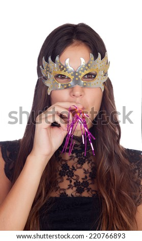 Attractive girl with a carnival mask isolated on a white background - stock photo