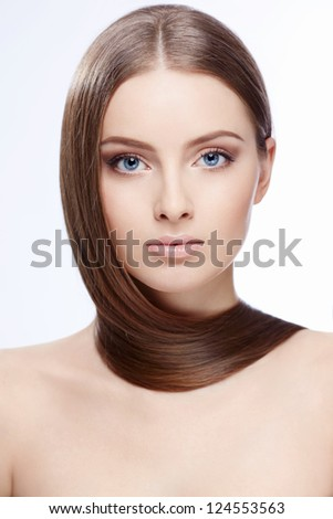Attractive girl with hair on white background - stock photo