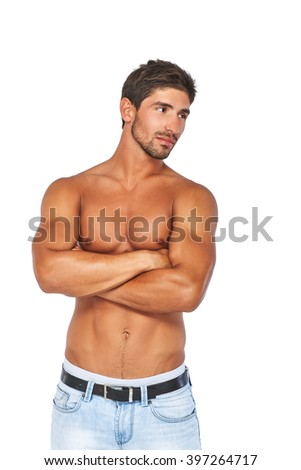 Attractive half naked man, in good shape. Isolated on white background. - stock photo