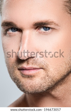 Attractive, handsome man with cute face - stock photo
