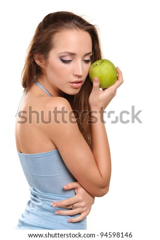 attractive healthy girl with apple isolated on white background - stock photo