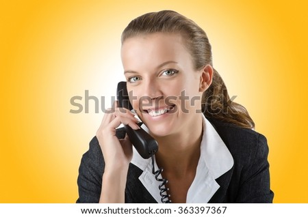 Attractive helpdesk operator on white - stock photo
