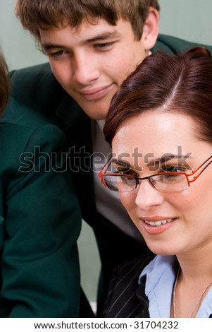 attractive high school teacher and student - stock photo