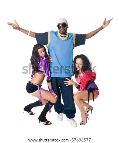 Attractive hip-hop male with two go-go dancers near him - stock photo