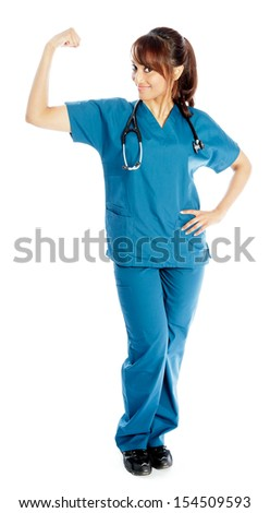 Attractive Indian doctor woman posing in a studio in front of a background - stock photo