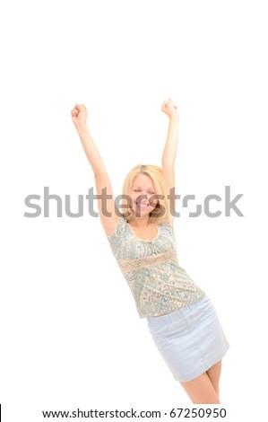 Attractive joyful blonde, hands up - stock photo