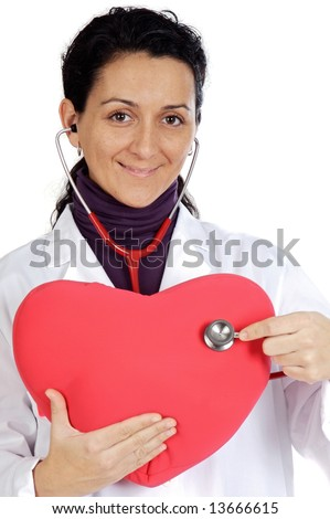 Attractive lady doctor cardiologist over a white background - stock photo