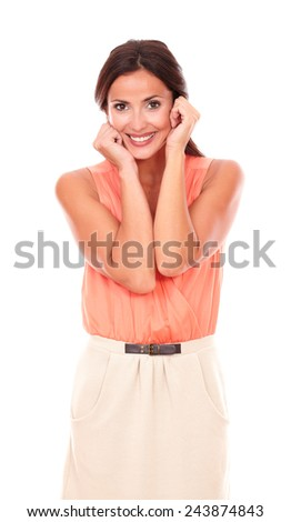 Attractive lady in elegant blouse smiling and looking at you cheerful and happy in white background - stock photo