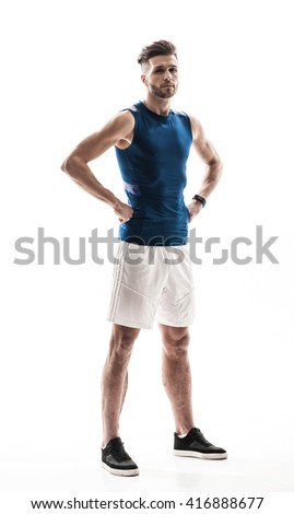 Attractive male athlete is ready to compete - stock photo