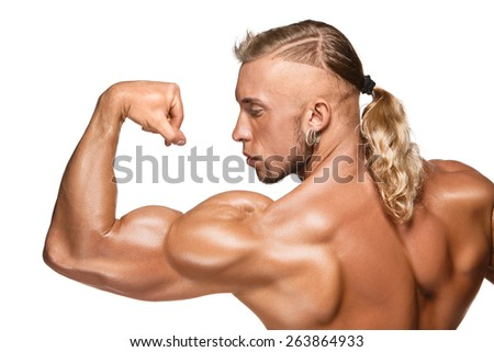 Attractive male body builder, isolated on white background. - stock photo