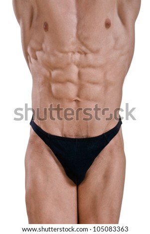 attractive male body in black underwear - stock photo