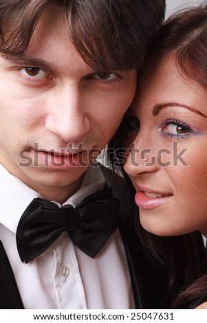Attractive man and charming woman. Young passionate couple. - stock photo