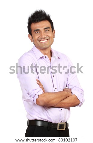 attractive man casually standing against white background - stock photo