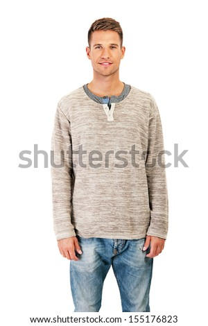 attractive man dressed casual - stock photo