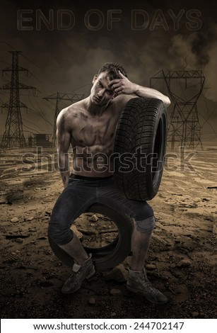 Attractive man in a destroyed landscape - stock photo