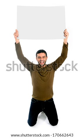Attractive man showing and pointing blank billboard as copy space - stock photo