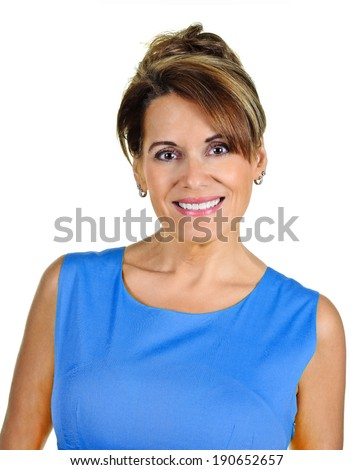 Attractive Mature Woman in Blue Summer Dress - stock photo