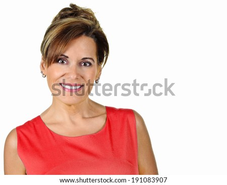 Attractive Mature Woman in Red Summer Dress - stock photo